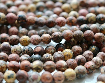 6mm Raw Leopardskin Jasper beads, full strand, natural stone beads, round, 60034