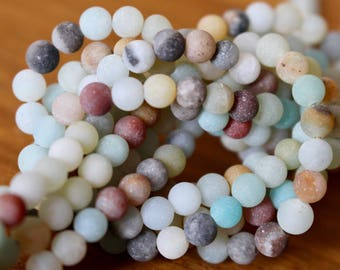 4mm Frosted Amazonite beads, full strand, natural stone beads, round, 40005