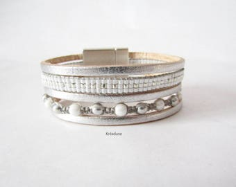 Cuff Bracelet white, gray, silver, leather, woven beads and macrame