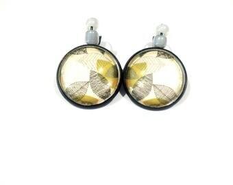 "Black Stud Earrings ""pretty leaves Japanese"" glass cabochons."