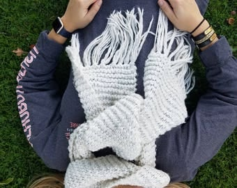Extra Long Hand Knitted Chunky Scarf With Tassels