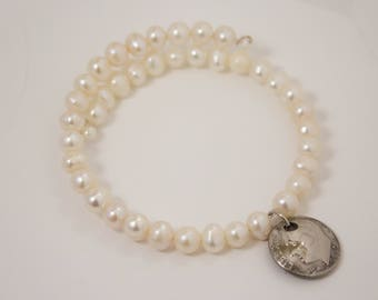Pearl bracelet with dime charm memory wire makes adjustable unique gift for wife, sister, daughter for Christmas, birthday or anniversary