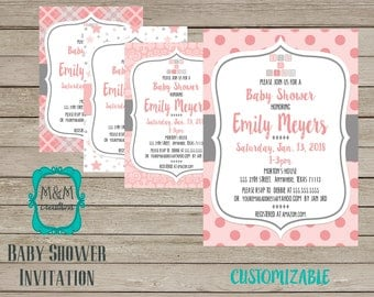 BABY SHOWER INVITATION - pink and grey - alternate patterns available