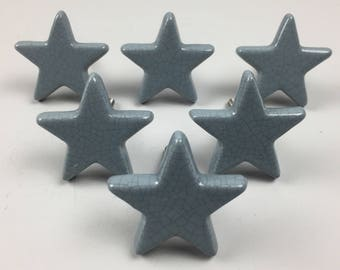 Set of 6 x GREY / Blue STAR CRACKLE Knobs - Ceramic Home decor drawer pull