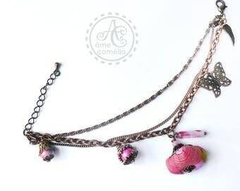 Bohemian pink butterfly bracelet