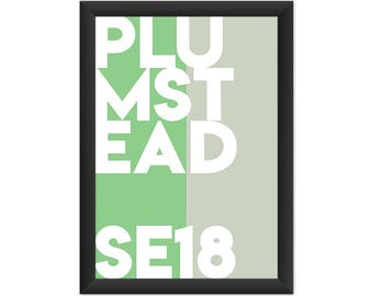 Plumstead Typography SE18 - Giclée Art Print - South London Poster