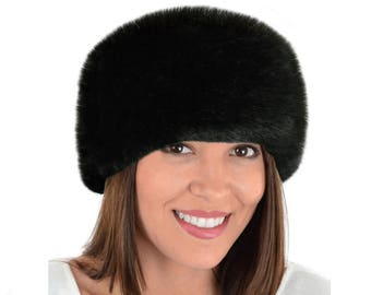 Luxury Faux Fur Headband, BLACK FOX Fur Headband / Neck Warmer