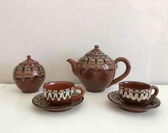 Pitchers set - Vintage Art Bulgarian Troyan Pottery - Handmade Ceramic Troyan Bulgaria - Ceramic coffee or tea set Bulgarian Troyan Ceramic