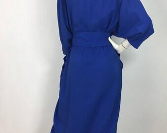 Vintage Simon Chang dress/80s electric blue midi