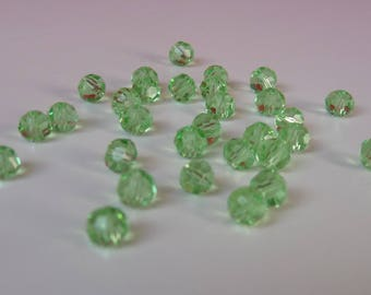 30 clear 4mm Green faceted bicone beads