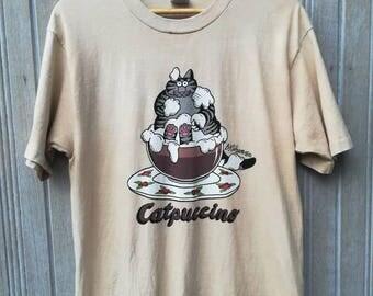 Vintage 90s Bkliban Catpuccino Hawaii Crazy Shirt made in USA Size Medium