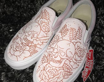 Custom skull and roses vans slip on shoes