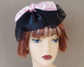 fascinator black with bow