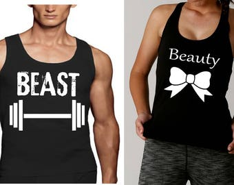 Couples workout,Tank Tops Beauty and Beast, his and hers gift