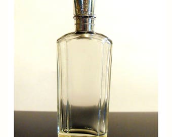 Antique Victorian Dutch Cut Crystal and Sterling Silver Flip Top Scent Perfume Bottle
