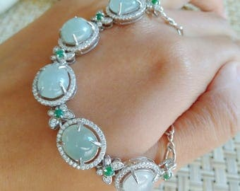 A-Level Burma Jade Bracelet from the old mine of Hpakant_free shipping