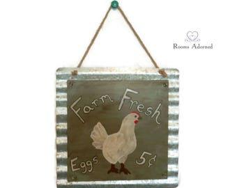 Farm Fresh Eggs 5c Tin and Wood Sign