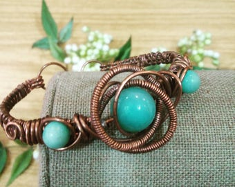 Antique Copper bracelet with amazonite