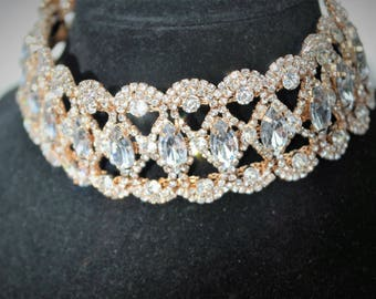 Clear Crystal gold Choker Necklace