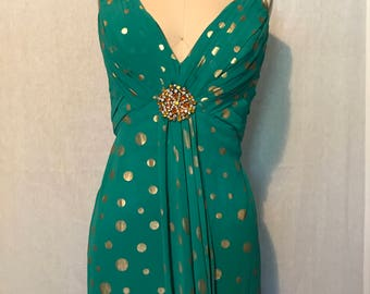Elegant Green Floor Length Dress With Gold Polka Dots