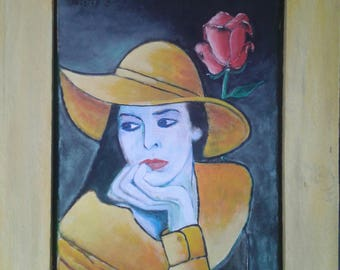 Painting. Acrylic on canvas. Women in yellow with Rose. Cobra Art Treasures.