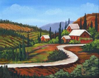 Tuscan Farmhouse 8x10 Acrylic Painting