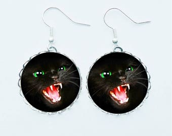 Snarling Black Cat Earrings Pendant Necklace Ring or Pin Badge Brooch Halloween Scary Horror Rabid Angry Cats Chilling Spooky Jewellery