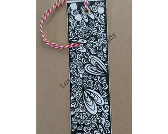 Bookmark hearts and flowers ready for coloring - bookmark - handmade - mandala - zentangle