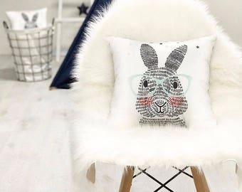 Hare pillow Bunny rabbits pillow Decorative pillow Nursery decor Organic cotton pillow Fanny pillow Cushion Pillow Kids gift idea Kids decor
