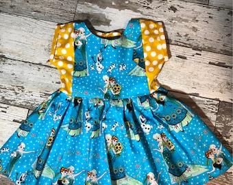 Little Girls Disney Frozen Elsa and Anna Sunflower Dress