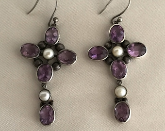 Antique Georgian Pendant Earrings. Amethysts and Natural Pearls.