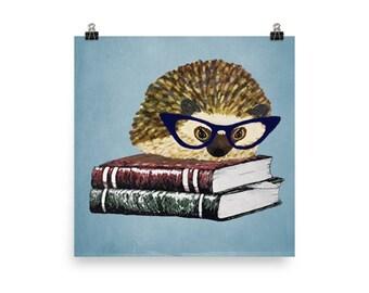 Adorable Hedgehog Book Nerd Poster A Princess Pricklepants Original Design