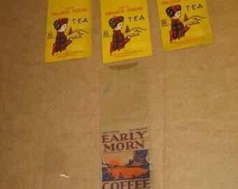 Java Orange Pekoe Tea and Grand Union Early Morn Coffee bags    [c4778o]