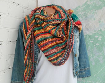 Striped knit shawl Asymmetrical knitted shawl Minimalist triangle scarf Striped rainbow shawl Knitted scarf Knitted striped scarf