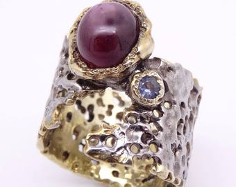 Handmade Art Jewelry Silver Ring with Ruby Gemstone