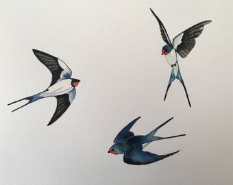 Hand Painted Watercolour Painting of Swallows