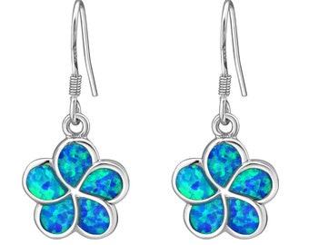 Sterling Silver Opal Flower Earrings