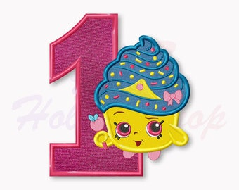 Shopkins Cupcake Queen First birthday Applique Embroidery Design, Shopkins Machine Embroidery Designs, Digital Instant Download, #018