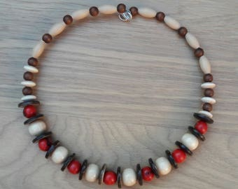 Necklace seeds ACAI, coconut and wood beads