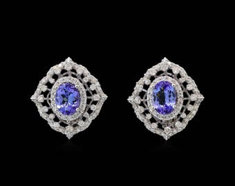 Tanzanite White Gold Earrings