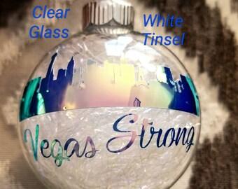 Vegas Strong Las Vegas Skyline Christmas Ornament 10-1-17 Route 91 Remembrance