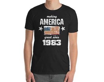 Making America great since 1983 T-Shirt, 35 years old, 35th birthday, custom gift, 80s shirt, Christmas gift, birthday gift, birthday shirt