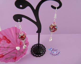 Red ball earrings