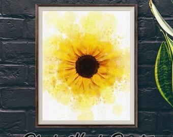 Yellow Sunflower Print, Flower Downloadable Print, Watercolour Floral Art, Sunflower Lover Artwork, Yellow Home Decor, Sunflower Wall Art