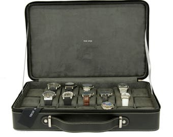 Black Leather Watch Briefcase Large