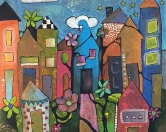 Whimsy CityScape - Original Acrylic Painting - Urban Blue Orange Houses