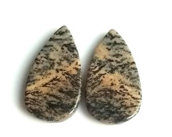 Honey Dendritic Pear Pair Cabochon,Size- 26x14 MM, Natural Honey Dendritic, AAA,Quality  Loose Gemstone, Smooth Cabochons.
