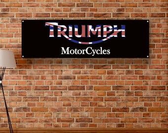 Triumph Motorcycles Vinyl Banner Garage Poster Workshop Adversting Flag Poster Racing Car Poster Auto Poster Gift Wall Decor Art Sign
