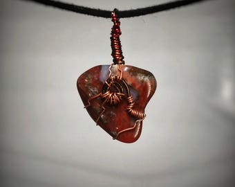 Brecciated Jasper Pendant - Wire Wrapped Jewelry - Red and Brown Polished Stone with Crystal Highlights - Handmade Stone Necklace - Petite