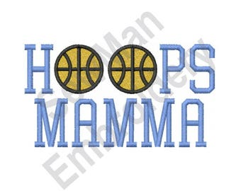 Hoops Mamma - Machine Embroidery Design, Basketball, Hoops, Mamma